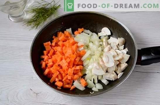 Sopa de champiñones con pollo y queso fundido: un primer plato hermoso y saludable. Receta fotográfica para la sopa con pollo y queso fundido: paso a paso