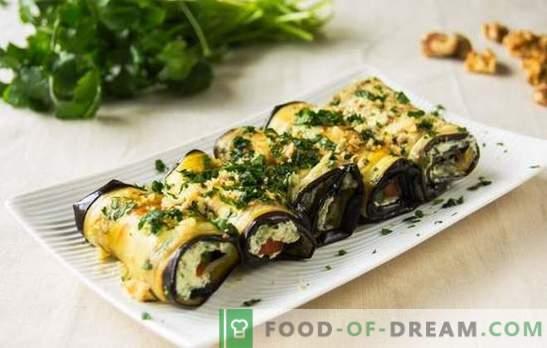 Cocinar rollos de berenjena con queso - un bocadillo universal. Rollitos de berenjena con queso: sencillo, rápido, apetitoso