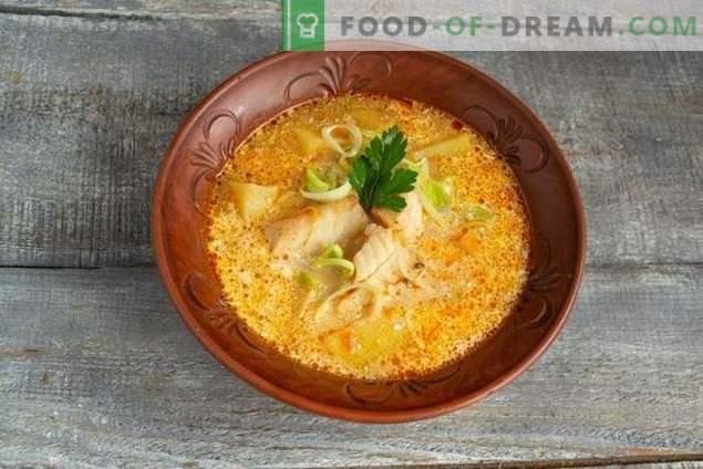 Sopa ligera de pescado de abadejo