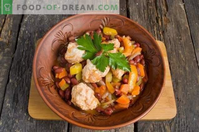Guiso de verduras con albóndigas de pollo