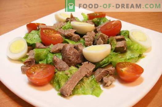 Ensaladas con carne - las mejores recetas. Cómo cocinar correctamente y sabroso las ensaladas de carne.