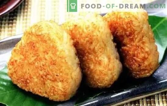 Palillos de arroz - ¡inusuales y económicos! Recetas de migas de arroz dulces y saladas con carne, pasas, champiñones, frutas confitadas, requesón