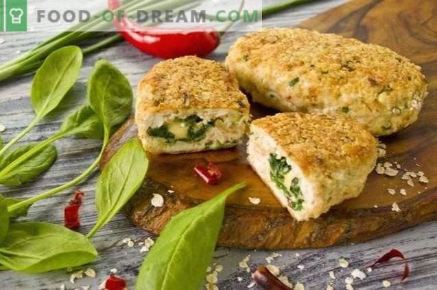 Empanadas de pollo de pechuga de pollo con espinacas y queso