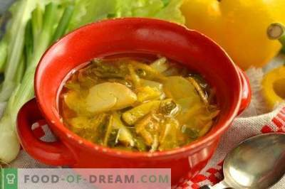 Supă de varză proaspătă cu salată de pui și frunze