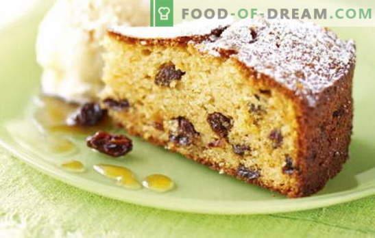 Pastel con pasas - definitivamente hay una pasa en ella! Recetas para tartas caseras con pasas y manzanas, nueces, albaricoques secos, arroz, requesón