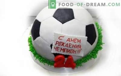 Pastel de pelota de fútbol: recetas de postres temáticos simples y complejos. Pastel de cocina