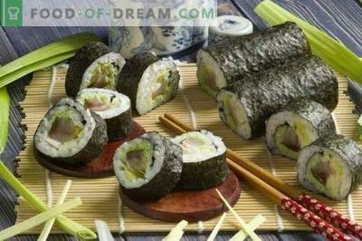 Sushi maki con anguila ahumada y cebollas de puerro