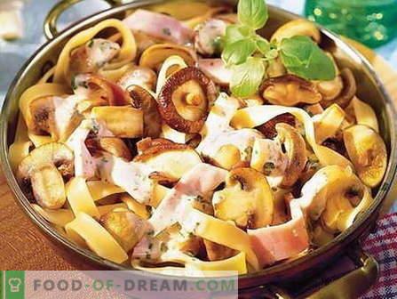Pasta con setas - las mejores recetas. Cómo cocinar correctamente y sabrosa la pasta con champiñones.