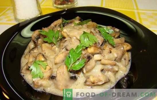 ¡Los champiñones en crema agria no son solo una sopa juliana! Recetas para deliciosos champiñones en crema agria: fritos, guisados, horneados