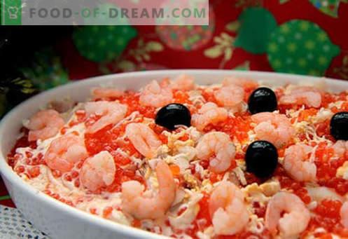 Ensalada con salmón y caviar - las recetas correctas. Rápida y sabrosa ensalada de cocina con salmón y caviar.