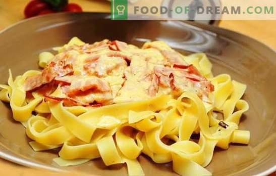 Pasta carbonara con jamón y crema: ¡la tradición de una manera nueva! Cómo cocinar la carbonara de pasta con jamón, crema, parmesano, champiñones