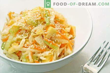 Las ensaladas de repollo son las mejores recetas. Cocinando ensaladas frescas, coliflor, mar y repollo chino.