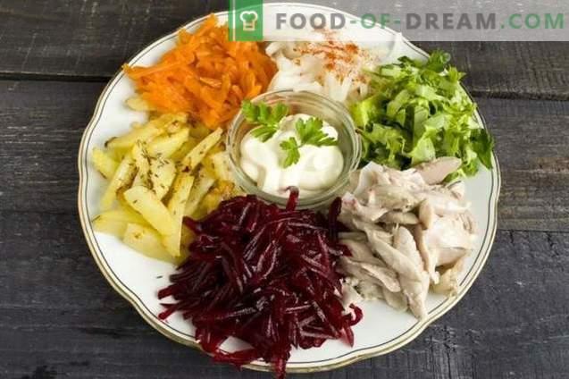 Ensalada de verduras con carne de arco iris