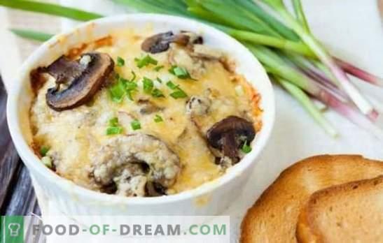 Champignon julienne - fácil! Métodos de cocinar champiñones Julienne: en una olla de cocción lenta, en Valovan, en una cocotte, en bollos, en ollas