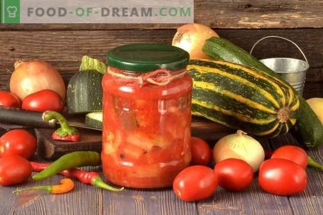 Leco de calabacín con pimientos, tomates y cebollas para el invierno