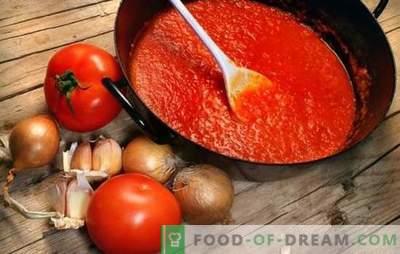 Salsas de tomate para el invierno: de ketchup georgiano a adjika de Crimea. Preparamos salsas de tomate caseras para el invierno