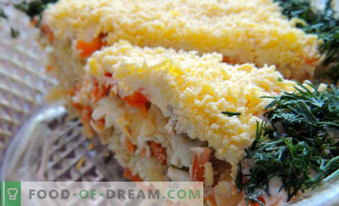Receta enlatada de ensalada de mimosa paso a paso con fotos