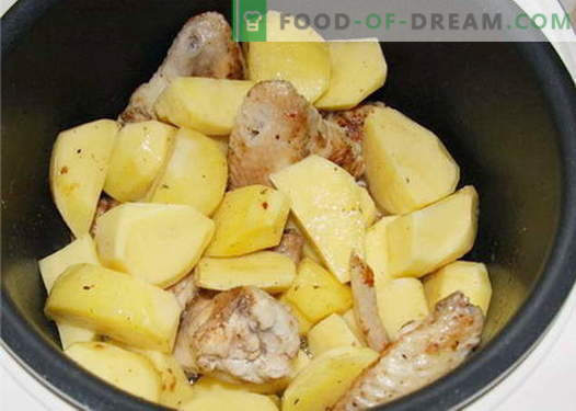 Pollo con papas en una olla de cocción lenta - las mejores recetas. Cómo cocinar adecuadamente y de forma sabrosa en un pollo de cocción lenta con papas.