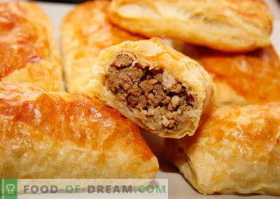 Puff pastry pie with meat - the best recipes. How to properly and tasty to cook a cake of puff pastry with meat.