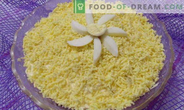 Deliciosas recetas para ensaladas de pescado enlatado, con queso derretido, Suave, Girasol, Mimosa
