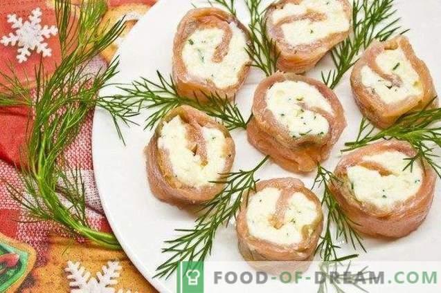 Rollitos de pescado rojo salado con queso