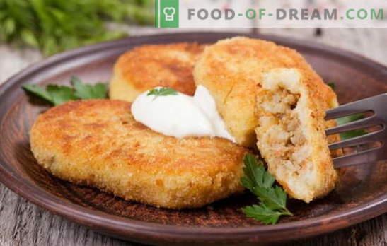 Patata zrazy con carne - un plato ideal para bocadillos. Recetas de zraz de patata con carne: en el horno y en la sartén