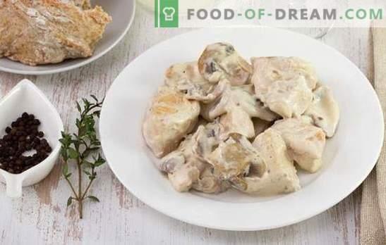 Stroganoff de carne de res: un plato para todos los gustos y presupuestos. Stroganoff de ternera de pollo con crema agria, cebolla, champiñones, tomates