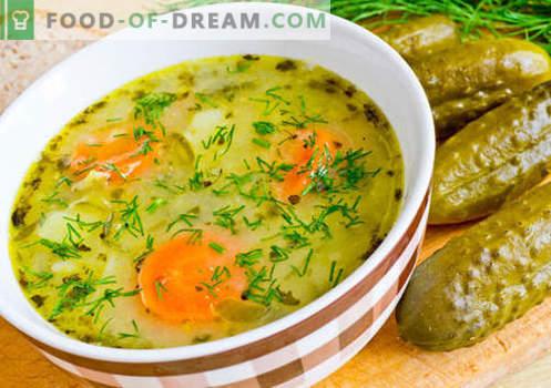 Pickle con pickles - las mejores recetas. Cómo cocinar correctamente y sabroso pickle con pepinillos.
