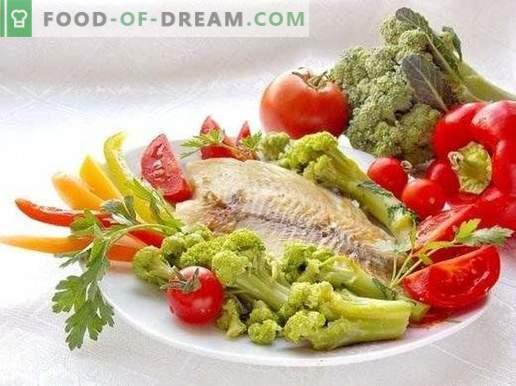 Filete de lubina frita con verduras