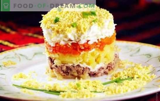 Ensalada en conserva de mimosa: una receta paso a paso. Variantes de la ensalada de cocina