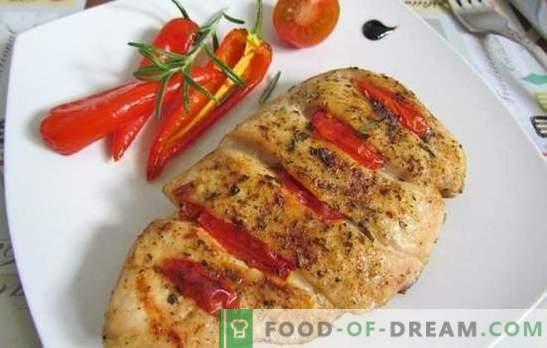 Pechuga de pollo con tomate: Las 10 mejores recetas de los mejores autores. Freír, cocer a fuego lento, hornear pechuga de pollo con tomates