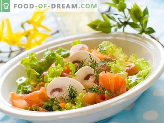 Ensalada con pescado rojo - recetas probadas. Cómo cocinar una ensalada con pescado rojo.