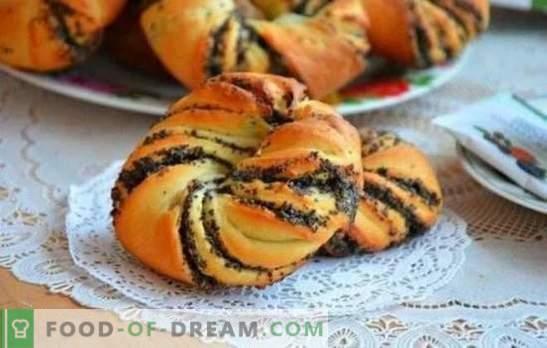 Panecillos con semillas de amapola de masa de levadura - ¡horneado casero, que todos obtienen! Las sutilezas de cocinar panes de levadura con amapola
