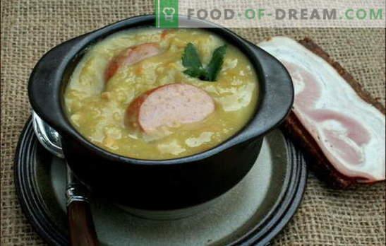 Sopa holandesa - mucho gusto! Recetas de diferentes sopas holandesas: guisantes, verduras y carne, con albóndigas y tocino