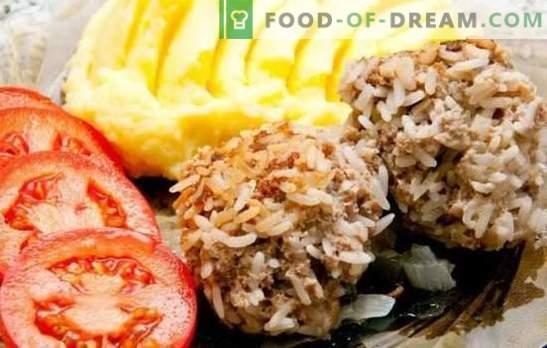 ¡Los erizos de carne picada con arroz en el horno - albóndigas tiernas! Opciones para los erizos de varias carnes picadas con arroz en el horno y salsas para ellos