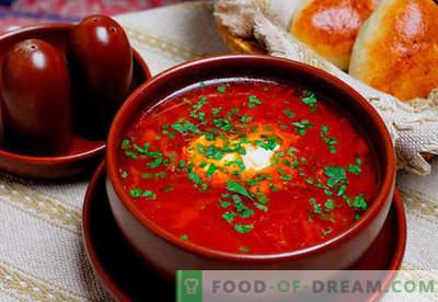 Borsch verde, rojo, magro, ucraniano: las mejores recetas. Cómo cocinar de forma adecuada y sabrosa la sopa con frijoles, champiñones, acedera en una olla de cocción lenta.