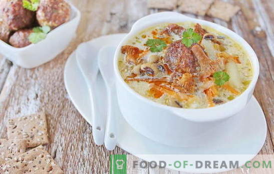 Sopa con albóndigas - ¡un placer satisfactorio! Varias recetas de sopa con albóndigas y frijoles, fideos, champiñones, verduras