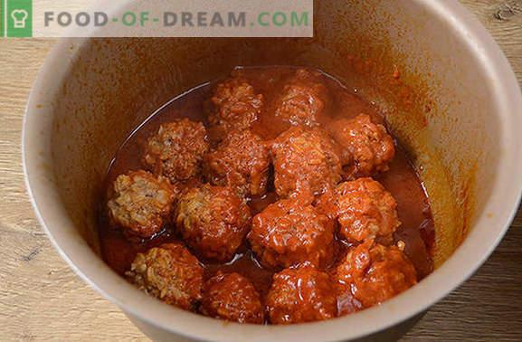 Albóndigas con arroz en salsa: los niños aman, los adultos aman! Receta fotográfica paso a paso del autor de albóndigas con arroz en una olla de cocción lenta