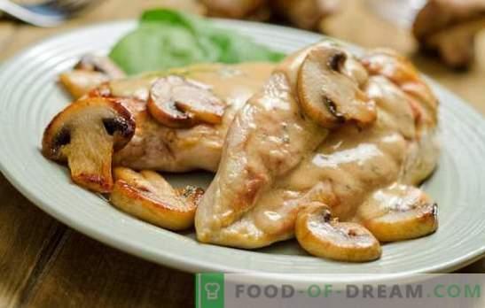 Pechuga con setas: una combinación clásica. Recetas de pechuga de pollo con champiñones y ... crema agria, piñas, queso, masa