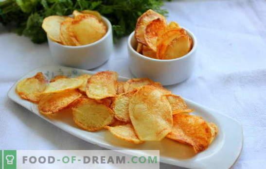 Chips en casa - no hay daño! Cómo hacer papas fritas en casa: en el microondas, en el horno, queso, de pita, clásico
