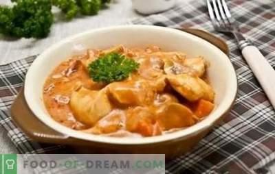 Recetas paso a paso para goulash de pollo con salsa. Ideas sabrosas y simples para una cena familiar: guiso de pollo con salsa en recetas paso a paso