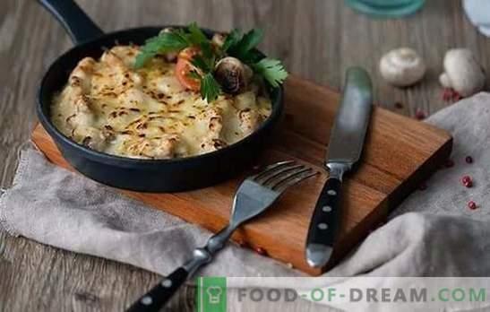 Juliana en una sartén - un plato de restaurante en la cocina de la casa. Recetas caseras Juliana con pollo y champiñones en una sartén
