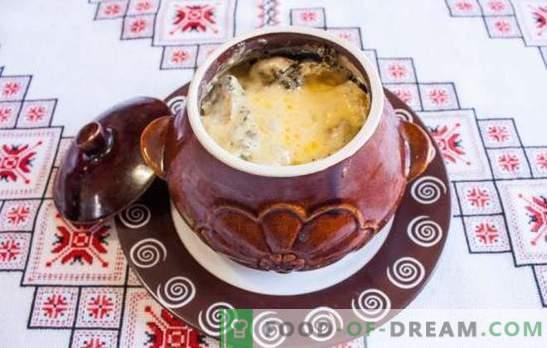Asado en ollas con champiñones: preparamos un plato sabroso y perfumado. Asado en ollas con setas y carne en el horno
