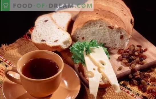 Recetas de pan blanco y de centeno con pasas para el horno y la panificadora. Repostería tradicional nacional - pan con pasas