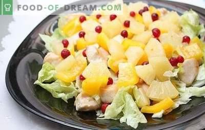 Ensalada con piña y jamón: para unas vacaciones con un toque exótico. Recetas de combinaciones armoniosas en una ensalada con piña y jamón
