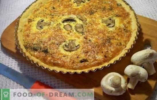 Pastel de champiñones vertido: ¡simplicidad y sabor increíbles! Cocinando pasteles de relleno con setas según las mejores recetas
