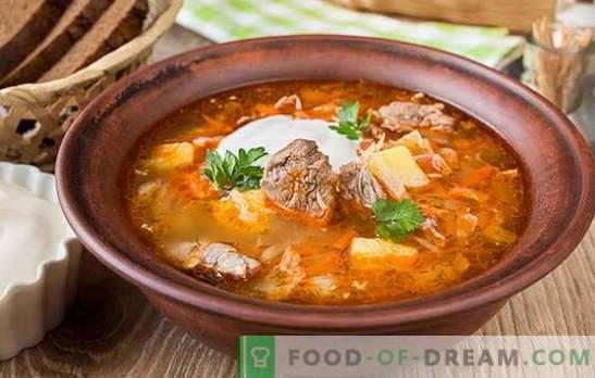 Sopa de col fresca - 10 mejores recetas. Variantes de la sopa de repollo con carne de res, pollo, cerdo, carne ahumada, frijoles