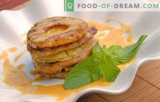 Pollo con piñas en el horno es una excelente manera de sorprender a los invitados y complacerse a sí mismos. Las mejores recetas de pollo con piña al horno