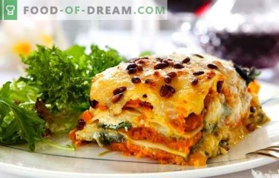 Lasaña con queso es otra pieza, señora! Recetas para diferentes lasaña con queso y jamón, champiñones, tomates, pollo