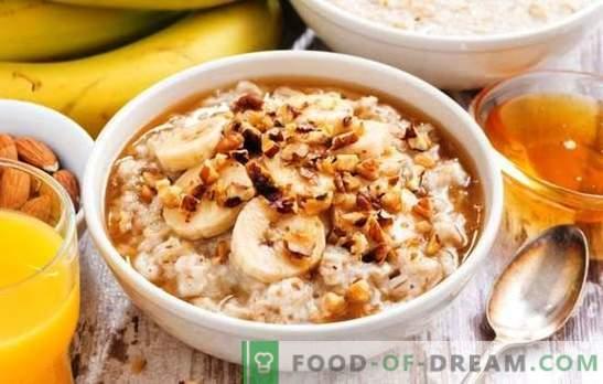 Avena en un multicooker con leche: un desayuno saludable. Variantes de harina de avena en una olla con leche, frutas, miel, nueces
